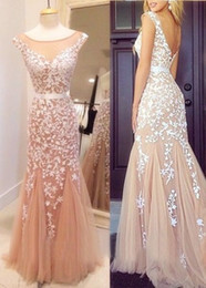 Wholesale Elegent Evening Dresses - Elegent Scoop Tulle Applique Vintage Prom Dresses Sexy Backless Sweety Sleeveless Mermaid Zipper Beatiful Evening Gowns