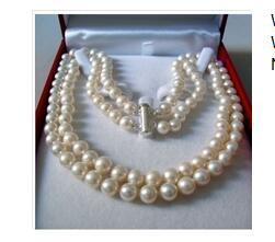 Wholesale Nobility Silver - Wonderful Nobility Fine Wedding Jewelry Lucky Women's 2 Rows 7-8MM AKOYA SALTWATER PEARL NECKLACE