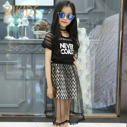Wholesale party clothes for boys - Wholesale- Girls Clothing Sets T-shirts+Mesh Skirts Teenage Casual Letter Lace Summer Dress Girl Brands Kids Clothes Sets for Party 2016