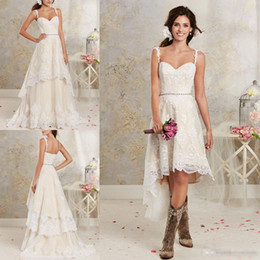 Wholesale Sexy Spaghetti Straps Applique - 2016 New Sexy Two Pieces Wedding Dresses Spaghetti Lace A Line Bridal Gowns With Hi-Lo Short Detachable Skirt Country Bohemian Wedding Gowns