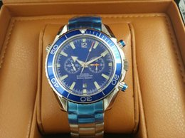 relógio dos oceanos Desconto Melhor Relógios automáticos do movimento dos homens luxuosos azuis da cara 007 de aço inoxidável Relógios de pulso mecânicos dos homens co-axiais profissionais do oceano do planeta