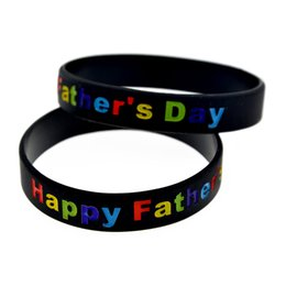 Wholesale Happy Promotions - Wholesale Drop Shipping 100PCS Lot Silicone Wristband Ink Filled Colour Logo Happy Father Day Logo Promotion Gift
