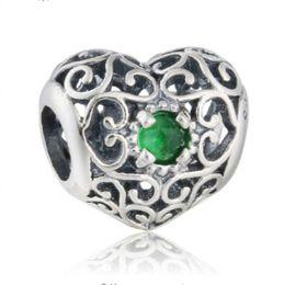 Grünes kristallherzarmband online-Birthstone Mai Charms Bead 925 Sterling-Silber-Schmuck Green Crystal Symbole Herz Perlen für Schmuckherstellung DIY Armband Zubehör HB340-5