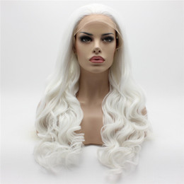 Wholesale Wavy White Cosplay Wig - Iwona Hair Wavy Long White Halloween Cosplay Wig 7#1001L Half Hand Tied Heat Friendly Synthetic Lace Front Wigs