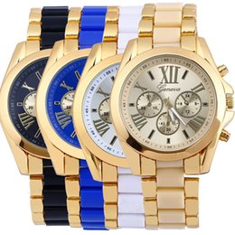 Wholesale Womens Gold Belts Wholesale - 200pcs Hot Geneva Watches Mens Business Stainless Steel Metal Belt Rome Dial Gold Watch Fashion Womens Quartz Watches