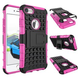 Wholesale Plastic Iphone 5c Cases - For iPhone X 8 6 6S 7 Plus 5 5S SE 5C 4 Kickstand Rugged Armor Case Shockproof Defender hard back Phone Cases For iPod touch 5 6