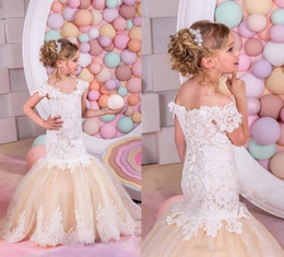 Wholesale Gown For Kids Color White - Pretty Champagne Lace Flower Girls Dresses Mermaid Off Shoulder Ruffles Puffy Tulle Capped Sleeves First Communion Pageant Gowns for Kids