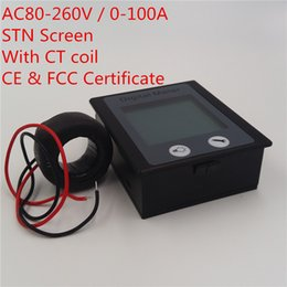 Wholesale Current Degree - PEACEFAIR 360° degree Digital Single Phase AC 80-260V 0-100A 4IN1 voltage current power energy Watt Voltmeter Ammeter Panel Meter + Coil CT