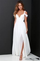 Wholesale Wedding Dresses Cheaper - Cheaper Simple White Chiffon Beach Wedding Dresses 2017 Floor Length Side Split Off Shoulder Ladies Long Bridal Party Gown