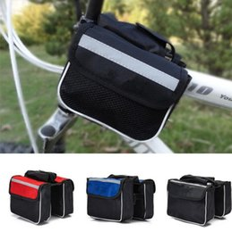 Wholesale Bike Bicycle Cycling Front Bag - Bicycle Cycling Frame Pannier Saddle Front Tube Bag Both Side Double Pouch Bike Top Frame Front Pannier Saddle KKA2371