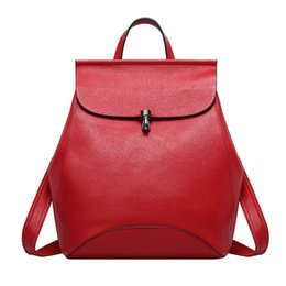 Wholesale Leather Lady Rucksacks - 2017 Good Quality Brand Backpacks Bags For Lady Fashion Genuine Leather Bag Rucksacks Women's Shoulder Bags Handbags Free Shipping