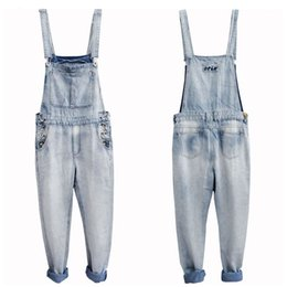 Wholesale 5xl Tall - Wholesale-Retro Men`s Plus Size S-5XL Denim Bib Overalls Multi Pockets Button Light Washed Blue Oversized Jumpsuits For Male Big and Tall