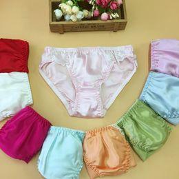 Wholesale Red Satin Panties - 9 Colors Women Silk Satin Panties Female Respiratory Underwear 20pcs Pack Ladies Knickers Briefs free shipping