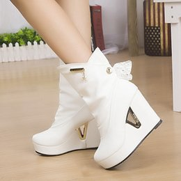 Wholesale Ladies Korean Boots Heels - Wholesale- 2015 Women New Brand Designer Korean Martin Boots Lady Elegant High Heel Ankle Shoes Girl Fashion Lace Wedge Motorcycle Boots