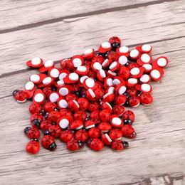 Wholesale Ladybird Kids - 100pcs DIY Stickers Wood Ladybug Ladybird Sticker Adhesive Back Indoor Plant Fridge Wall Sticker Home Decoration Accessories