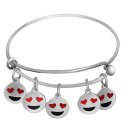Wholesale Kids Stainless Steel Bracelets - New Mixed Color Stainless Steel Enamel Cute Red Heart Eye EMOJI Bracelets For Kids Love DIY Beads Bangles for Women Jewelry Accessories Gift