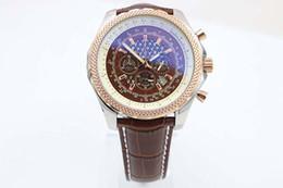 Wholesale Mens Leather Bracelets Brown - 2017 Luxury Brand New Quartz Chronograph Two Tone Brown Dial Stainless Case Bracelet Mens Quartz Date Watch Men's Sports Wrist Watches