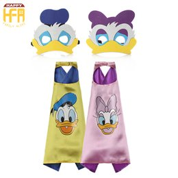 Wholesale Duck Cartoon Costume - 70CM*70CM Halloween Costumes Cape Clothing Disney Cartoon Donald Duck And Daisy Cartoon Capes Cute Costumes For Kids Halloween Party Decor