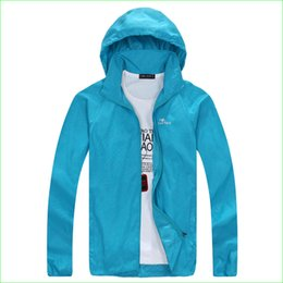 Wholesale Protective Jackets - Wholesale-Women Summer Waterproof Jacket Man Hiking Running Outdoor Sports Coat For Couples UV Protective