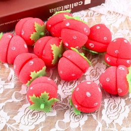 Wholesale Strawberry Rollers - 12 pcs Strawberry Balls Hair Care Soft Sponge Rollers Hair Curlers DIY Hair Care & Styling Tools