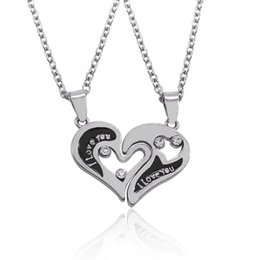 Wholesale Heart Shape Couple Necklace - 2016 New Design I Love You Heart Shape Pendant Necklaces 2 Parts Broken Heart Crystal Choker Necklace For Lover Couple Jewelry