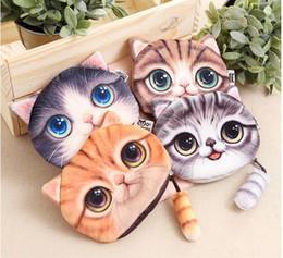Wholesale Printer Cartoon - 3D Printer Cat face Cat with tail Coin Purse Bag Wallet Girls Clutch Purses Change Purse cartoon handbag case