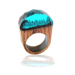 Синее кольцо смолы онлайн-Тенденция Оригинальный Подводный Синий Пейзаж Смолы Деревянное Кольцо Деревянные Ручной Работы Творческой Личности Волшебный Лес Деревянное Кольцо