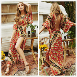 Wholesale Dress Sexy Xxl Neck - 2017 women newest sexy Bohemia print maxi dresses High slit Chiffon Dresses Irregular backless skirts S-XXL