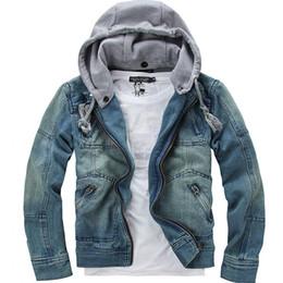 Wholesale Denims Jacket Men - tops cotton Free shipping Mens Denim jacket Hoodie outerwear hooded Winter hoodie cowboy wear