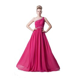 Wholesale Young Ladies Dresses - Brand One Shoulder Professional Design Long Dress Beaded Chiffon Evening Dress Young Ladies 2017 Free Shipping