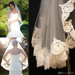 Wholesale Single Layer Veil Bridal Lace - Free shipping to reach the veil lace short design single wedding bride's waist long hair comb Blush Bridal Accessories
