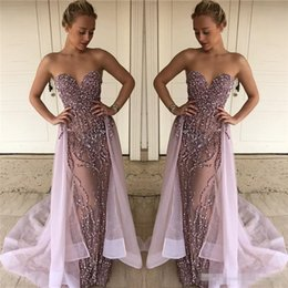 Wholesale One Shoulder Sweetheart Bead Long - 2017 Lalic Luxury Beads Sequins Sheer Prom Dresses Backless Sheath Sweetheart with Overskirts Long Party Celebrity Evening Dresses 2018