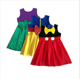Wholesale Mermaid Princess - Girl Summer mermaid Dress fish scale Dresses Children Cartoon Cinderella Princess Minnie bowknot sleeveless vest dresses 13 Style