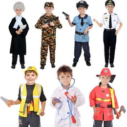 Wholesale Kids Pink Dress Boy - 2017 New Kids Boys Police Lawyer Firemen Doctor Cosplay Costume Children Role Play Costumes Halloween Party Dress Supplies