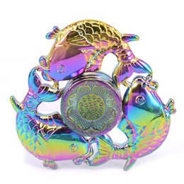 Wholesale lucky fish - Rainbow Three Fish Fidget Spinners Hand Spinner Lucky Fish Lotus Tri-spinner EDC Finger Toys Anti Anxiety For Autism and ADHD