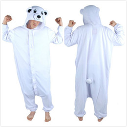 Wholesale Halloween Bear Costume Men - Polar Bear Onesie Unisex Animal Cosplay Pajamas adult Costume for Women Men Halloween Carnival Party Costumes Pyjamas Plus Size