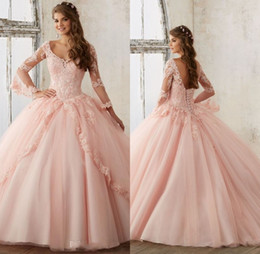 Wholesale Debutante Gowns Tulle - Sweet 16 Year Lace Hot Pink Quinceanera Dresses 2017 vestido debutante 15 anos Ball Gown V Neck Sheer Sleeve Prom Dress For Party
