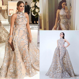 gray taffeta dress Promo Codes - Sequined Appliques Mermaid Overskirt Evening Dresses 2018 Yousef Aljasmi Dubai Arabic High Neck Plus Size Occasion Prom Party Dress