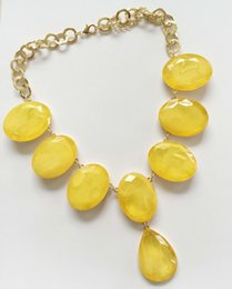 Wholesale Large Oval Beads - 2017 Large Marblized Oval Acrylic Stones Metal Statement Necklace Faceted Resin Beads Choker Pendant For Women Good Quality Fashion Jewelry