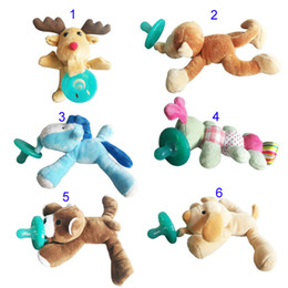 Wholesale 6 Style silicone animal pacifier with plush toy baby giraffe elephant nipple kids newborn toddler kids Products include pacifiers B001
