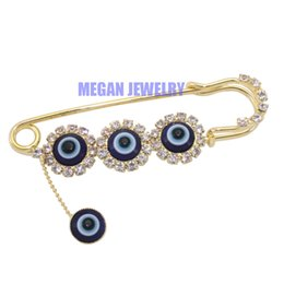 Wholesale muslim hijab pins - Wholesale- islam muslim Scarf Hijab evil eye crystal Pin brooch