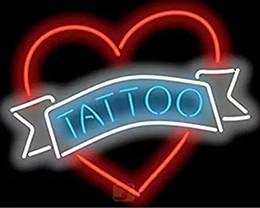 "Wholesale Unique Place - 24""x20"" Tattoo Heart Custom Handmade Glass Tube Neon Light Sign 3-Year Warranty-Unique Artwork!"