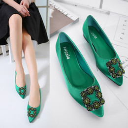Wholesale Low Heel Sexy Shoe - 2017 New Sweet Square Rhinestone Buckle Silk Surface Women Pumps Sexy Fashion High Heels Women Party Dress Shoes WS006