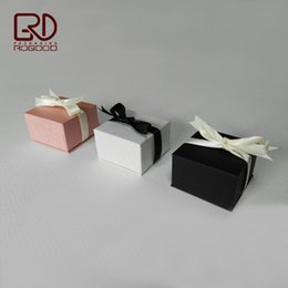 Wholesale Handmade Stamped Jewelry - 50pcs lot Black white pink color Square corner cardboard box for ring earring ear nail