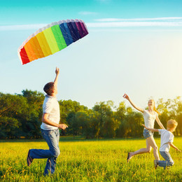 Wholesale Outdoor Stunts - New Hot Power Dual Line Stunt Parafoil Parachute Rainbow Sports Beach Kite with 2pcs 30m Nylon Flying Lines For Beginner Outdoor Games & Act