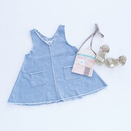 Wholesale Kids Pocket Dress - Children princess dress girls cotton cowboy pockets sleeveless V-neck A-line dress 2017 new summer kids fashion dress C0178