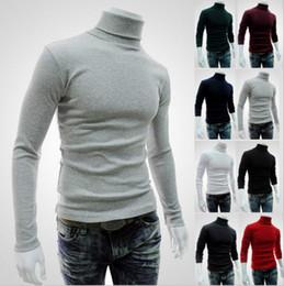 Wholesale Turtleneck Wholesaler - Wholesale- Helisopus Men's Long Sleeved Turtleneck Sweater Solid Color Sweater Autumn Winter Knitting Shirts Slim Basic Tee Shirts