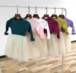 Wholesale Baby Clothes Wholesale Korea - 2017 Spring New Baby Girl Dresses Korea Style Cotton Gauze Long Sleeve Princess Dress Children Clothing E5177