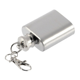 Wholesale Keychain Flask Wholesale - Strong Durable Portable 1oz Mini Stainless Steel Hip Flask Alcohol Wine Flagon With Keychain flask high quality