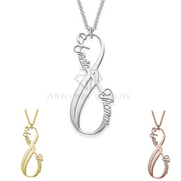 Wholesale vertical steel - Vertical Infinity Style Personalized Custom Name Necklace Collection Name Necklace 316 Stainless Steel Pendant with the Custom Name